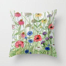 Watercolor of Garden Flower Medley Throw Pillow