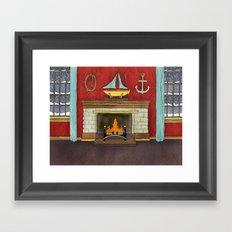 Happy Holidays - Fireplace Framed Art Print