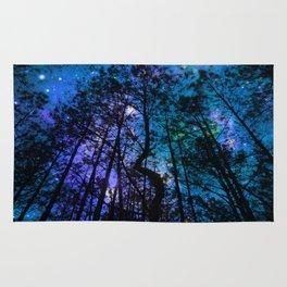 Black Trees Teal Purple Space Rug