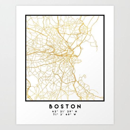 BOSTON MASSACHUSETTS CITY STREET MAP ART by deificusart