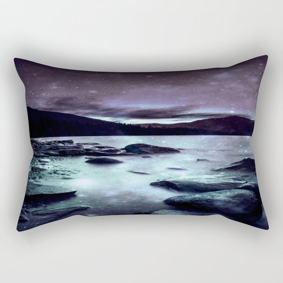 Magical Mountain Lake Aqua Lavender Rectangular Pillow