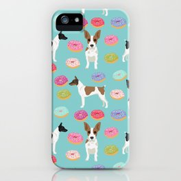Rat Terrier donuts dog breed pet portrait dog pattern dog breeds gifts for dog lovers iPhone Case