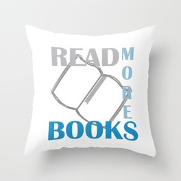 READ MORE BOOKS in blue Throw Pillow