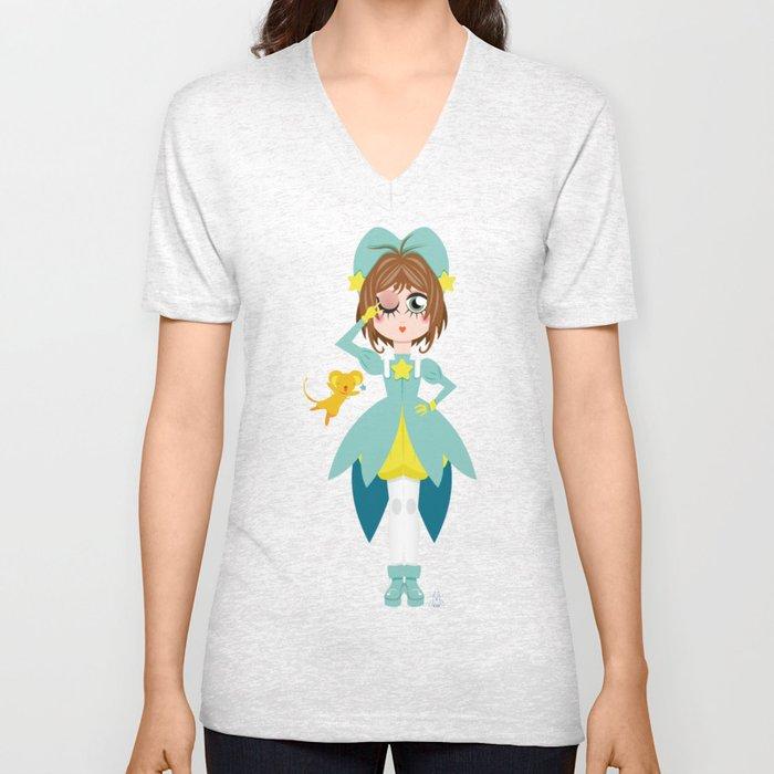 Mini Me Stars: Green Sakura Unisex V-Neck