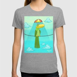Umbrella Hat Bird Lounging on a Wire! T-shirt