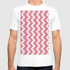 Crazy for Chevron - Rose MEDIUM White Mens Fitted Tee