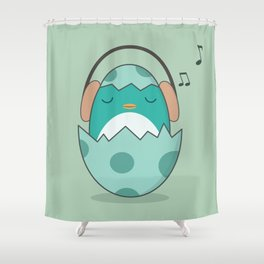 Kawaii Cute Music Loving Bird Shower Curtain