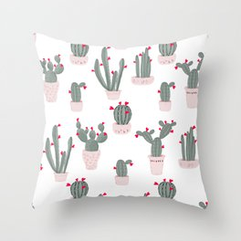 Love in the Desert Cacti Pattern Throw Pillow