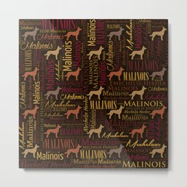 Belgian Malinois Dog Word Art pattern Metal Print