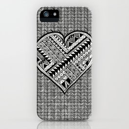 Modern, black and white, geometric shaped heart iPhone Case
