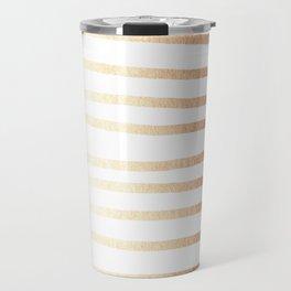 Simply Drawn Stripes Deep Bronze Amber Travel Mug