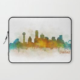 Dallas Texas City Skyline watercolor v03 Laptop Sleeve