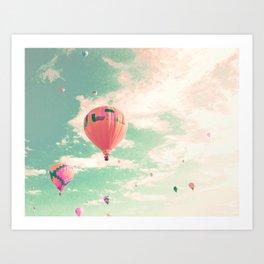 Pink nursery hot air balloons Art Print