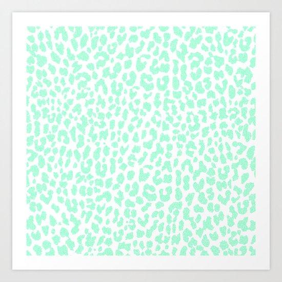 Pale Mint Leopard Art Print