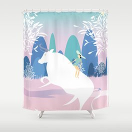 The Girl and the Bull in the Meadow Shower Curtain