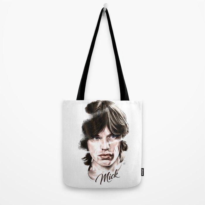 Mick portrait pencil and digital color, Rolling Stones portrait Tote Bag