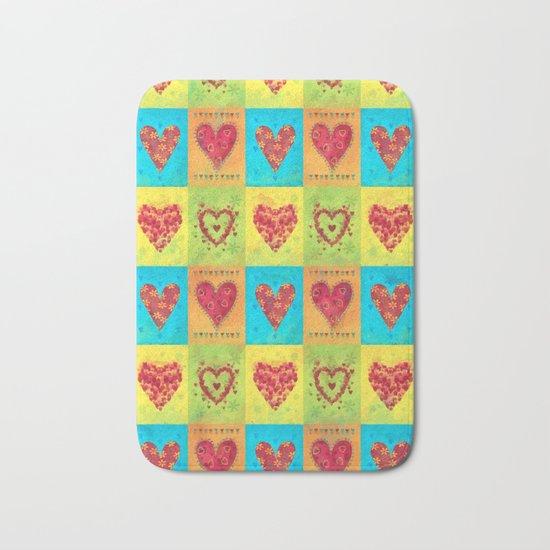 Colorful hearts pattern Bath Mat