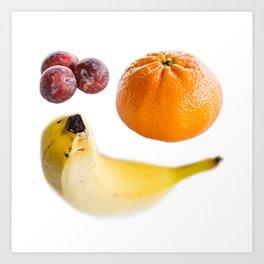 Plums, Banana and Orange Art Print