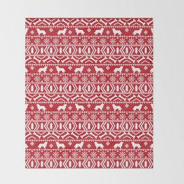 Bernese Mountain Dog fair isle christmas red and white pattern holiday dog breed gifts Throw Blanket