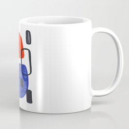 Mid Century Modern Abstract Minimalist Art Colorful Shapes Vintage Retro Style Orange Blue Shapes Coffee Mug
