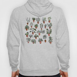 Succulent Houseplants in Terracotta Pots, Watercolor Cacti & Plant Wall Art Hoody