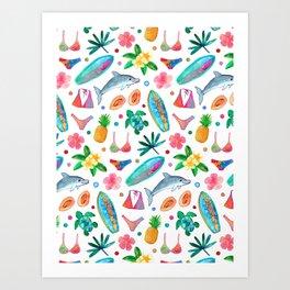 Dotty Summer Beach Pattern Art Print
