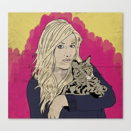 Girl and cat Canvas Print