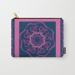 Hope Mandala with Border - Fuschia Navy Carry-All Pouch