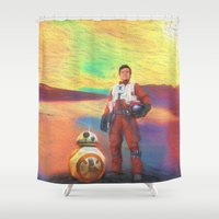 poe Shower Curtains featuring Poe Dameron by DisPrints