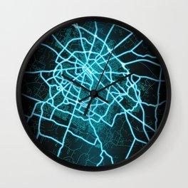 Lexington, KY, USA, Blue, White, Neon, Glow, City, Map Wall Clock