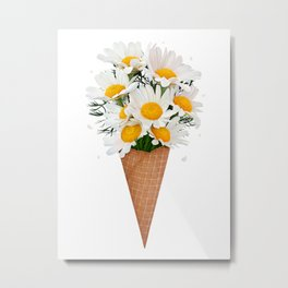 Ice cream with chamomile Metal Print