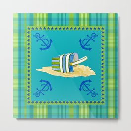Nautical Beach Sand Pail Little Boy Plaid  Metal Print