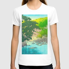Vintage Japanese Woodblock Print Beautiful Water Creek Grey Rocks Green Trees T-shirt