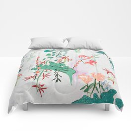Abstract Jungle Floral on Pink and White Comforters