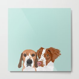 Beagle and Brittany Metal Print