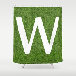 W initial letter alphabet on the grass Shower Curtain