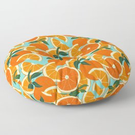 Orange Harvest - Blue Floor Pillow