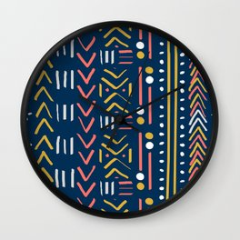 Abstract Mudcloth - Limited Color Palette in Coral Teal Mustard Gray Wall Clock