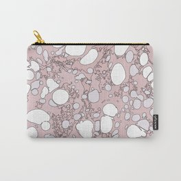 Blush Pink and White Graphic Spilled Ink and Paint Bubbles Carry-All Pouch