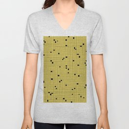 Yellow and Black Grid - Missing Pieces Unisex V-Neck