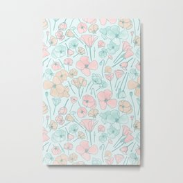 Poppies | Mint and Peach Palette Metal Print