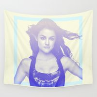lucy Wall Tapestries featuring Lucy Hale by Dora Birgis