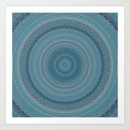 Faded Blue Bohemian Mandala Art Print