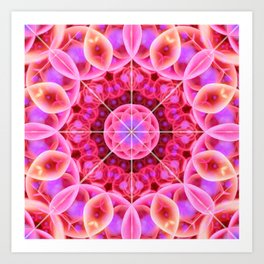 Pink and Violet Healing Mandala Art Print