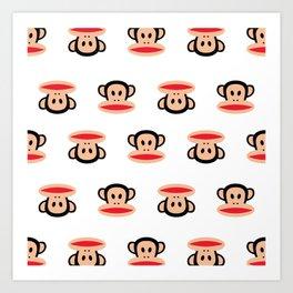 Julius Monkey Pattern by Paul Frank - White  Art Print