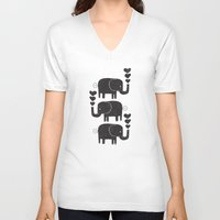 elephants V-neck T-shirts featuring ELEPHANTS by Matthew Taylor Wilson