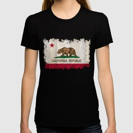 California Republic state Bear flag on wood T-shirt