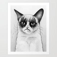 Grumpy Simmons Cat Whimsical Funny Animal Music Art Print