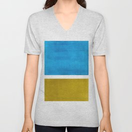 Colorful Bright Minimalist Rothko Olive Green Jewel Blue Midcentury Modern Art Vintage Pop Art Unisex V-Neck