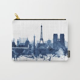 Paris Skyline Watercolor Blue, Art Print By Synplus Carry-All Pouch